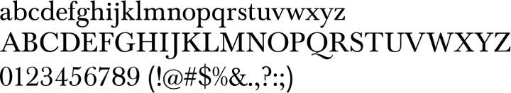 Baskerville FS Font Specimen