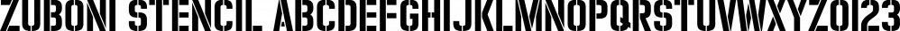 Zuboni Stencil font family by CastleType