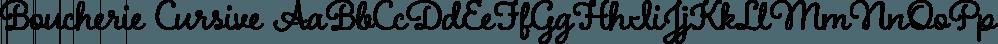 Boucherie Cursive font family by Laura Worthington