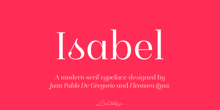 Isabel font family by Letritas